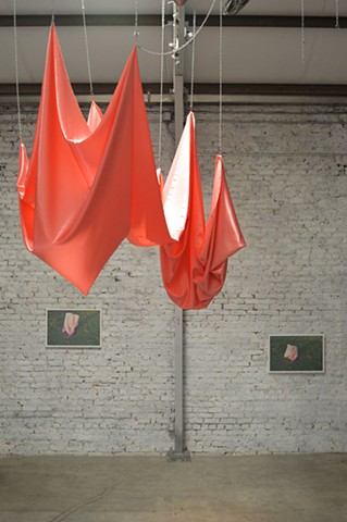 pink satin drapery installation photography by Robyn LeRoy-Evans New Orleans Guts & Vigor