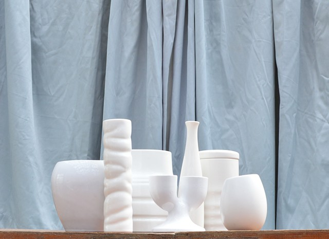 photograph of white vessel object drapery fabric still life by Robyn LeRoy-Evans