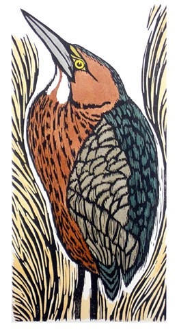 One color woodblock print, hand colored, hand-printed on Rives heavyweight