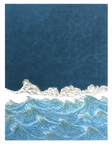 Five color multi-block woodblock print, hand-printed on Rives heavyweight