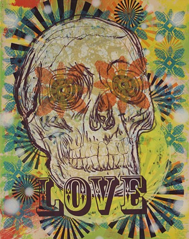 screen print, skulls, south texas, printmaking, guns, Jesus De La Rosa