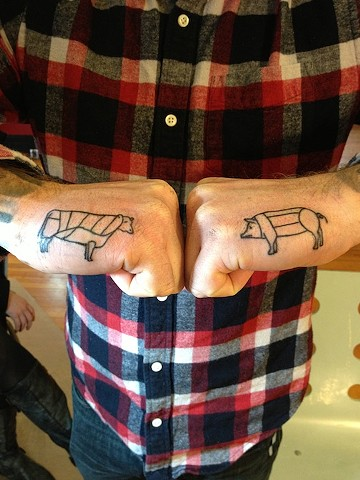 Cow and Pig Butcher tattoo by Bradley Delay
