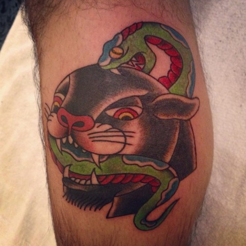 Traditional Panther Versus Snake tattoo by Bradley Delay