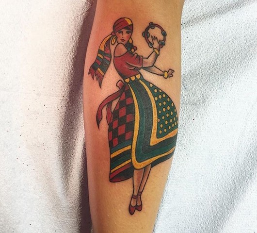 Traditional Gypsy tattoo made at Historic Tattoo
