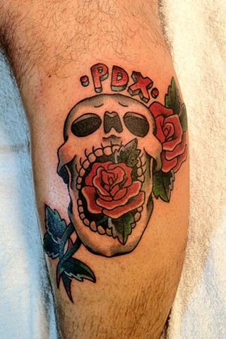 PDX Skull and Roses tattoo by Bradley Delay