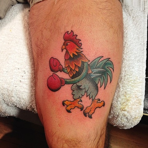 Boxing Rooster tattoo by Bradley Delay