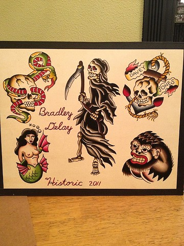 Bradley Delay, Delay Tattooing, flash, traditional flash, ink, traditional flash, old school flash, tattoo flash, watercolor flash