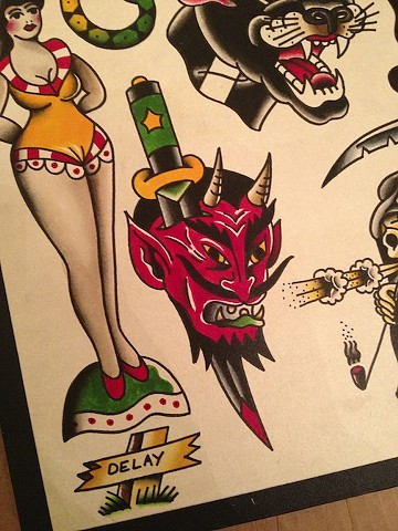devil flash, Bradley Delay, Delay Tattooing, flash, traditional flash, ink, traditional flash, old school flash, tattoo flash, watercolor flash