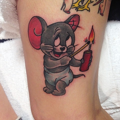 Cartoon Mouse with TNT tattoo by Bradley Delay