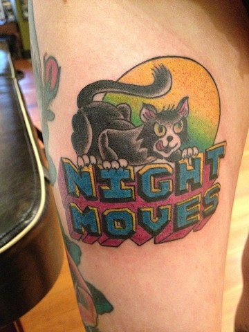 Black Cat Night Moves tattoo by Bradley Delay