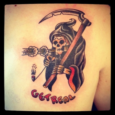 "Smoking Reaper ""Get Real"" tattoo by Bradley Delay"