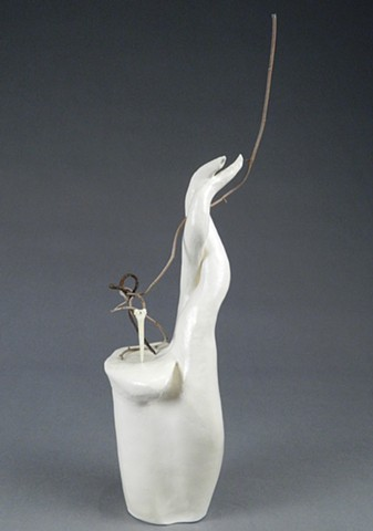coil-built earthenware, borosilicate glaze, bone, Corten wire, dried vine