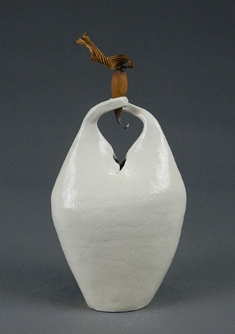 coil-built earthenware, borosilicate glaze, dried seaweed