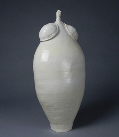 coil-built earthenware, borosilicate glaze, press molds of box turtle shells