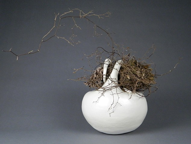 coil-built earthenware, borosilicate glaze, nest