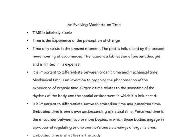 An Evolving Manifesto on Time