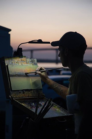 Painting the first place winner of the Quick Draw at Solomons Plein Air Festival 2017.