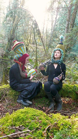 Nature Drag Forest Installation:  Czarista Kelp Hat & Stole with Victiorian Squash Blossom Party Hat