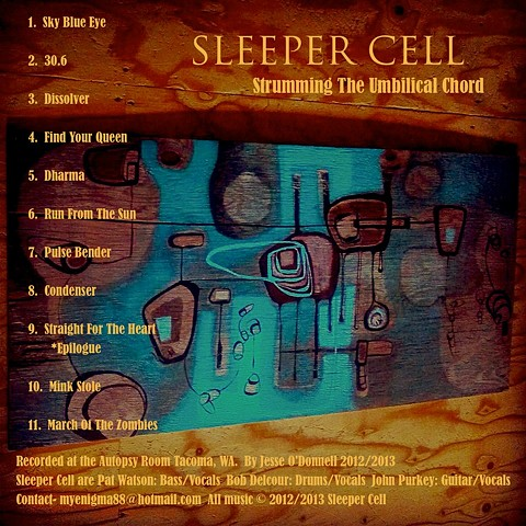 'Strumming The Umbilical Chord' Album Art for Tacoma band Sleeper Cell Back cover