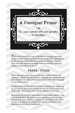 Consignment Primer - Title Page - Quimby's