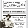 Open Mic Flyer for Read/Write Library Chicago