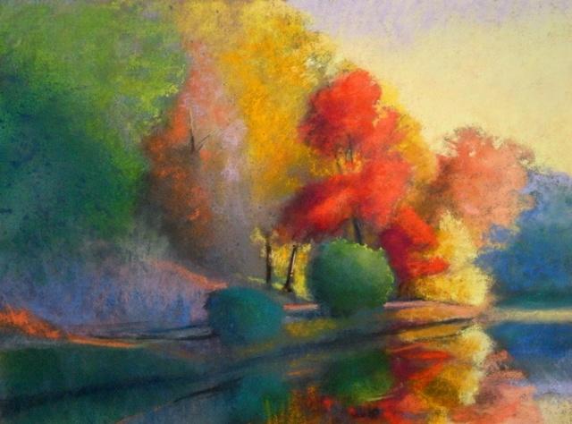 Swan Lake, 36x48, pastel