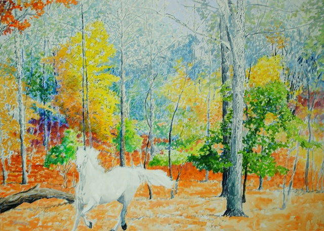 White Horse in the Woods, acrylic, 46x66