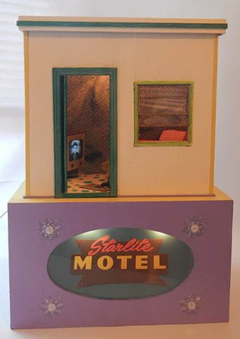 diorama, found object, assemblage, screen print