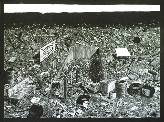 Scratchboard drawing of trash scatter and dump site.