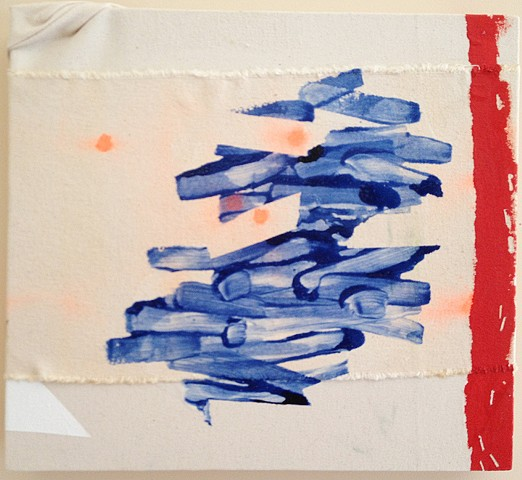 raw canvas, blue lines, orange dots, red line with staple marks along side