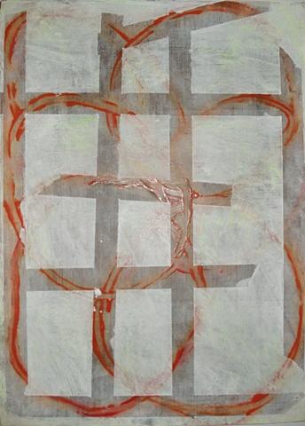 grey grid covering orange loops linen