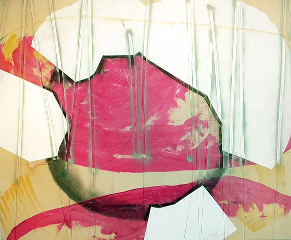pink orbs, white blobs, thin pencil abstract
