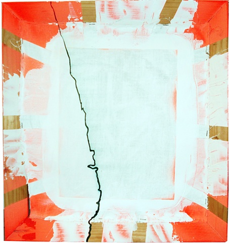 orange spray & white gesso on canvas and frame green stripe