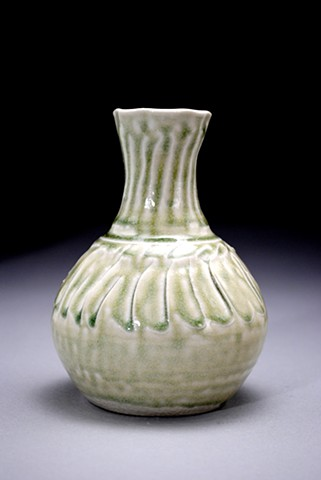 salt fired porcelain, ceramic sun flower vase