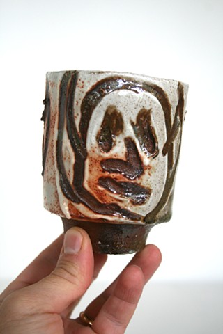 Wood fired stoneware coffee cup. Clay, fired in Ohio, Andrew M Simmons.