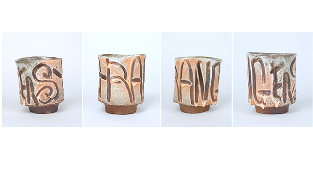wood fired stoneware coffee cup, clay, ceramic, Andrew M Simmons