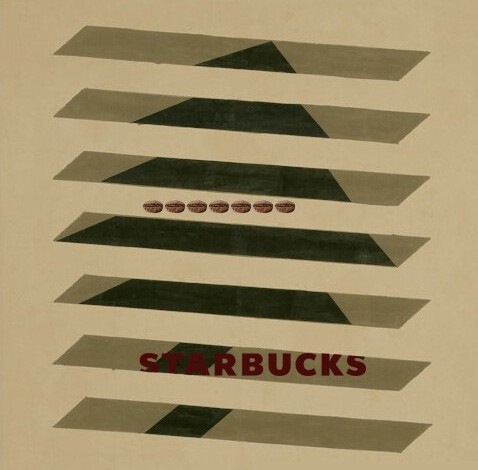 STUDENT'S WORK   STARBUCKS ARTIST SERIES HOLIDAY POSTER (AGNES MARTIN)  GRAPHIC DESIGN (3rd YEAR) PROF. STEVEN DANA YEUNGNAM UNIVERSITY, DAEGU KOREA