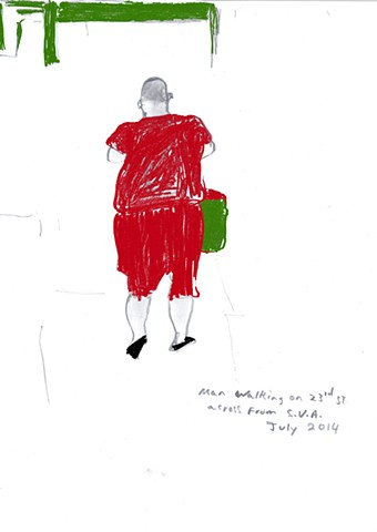 "Walking on 23rd St. NY  GRAPHITE ON PAPER COLORED IN PHOTOSHOP 8.5"" W x 11"" H"