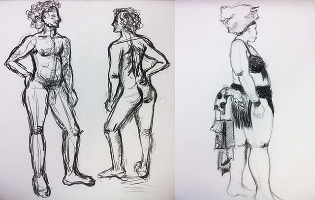 STUDENTS' WORK   Roman drawn by Yolanda C., 1st Drawing Class and Hannah drawn by Yolanda C. 10th and final week of Drawing Class.   FIGURE DRAWING/LOCATION DRAWING (FOUNDATION YEAR) FINE ARTS DEPARTMENT FOR INTERNATIONAL STUDENTS PROF. STEVEN DANA SCH