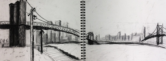 STUDENTS' WORK   Location Drawing, Manhattan Bridge Jia Lin Liu    FIGURE DRAWING/LOCATION DRAWING (FOUNDATION YEAR) FINE ARTS DEPARTMENT FOR INTERNATIONAL STUDENTS PROF. STEVEN DANA SCHOOL OF VISUAL ARTS NY