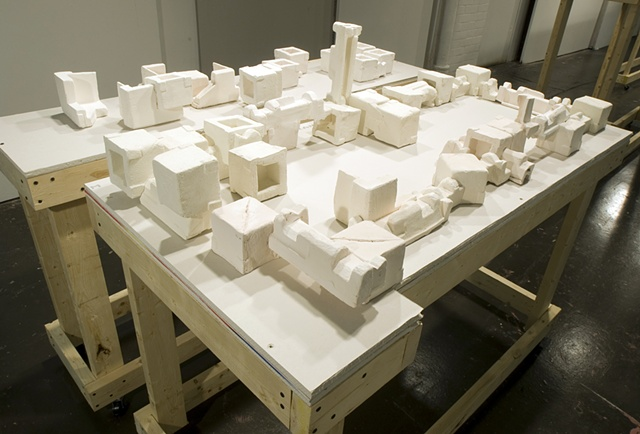%Subdivision% is a site-specific installation that references urban planning strategies and the built environment.