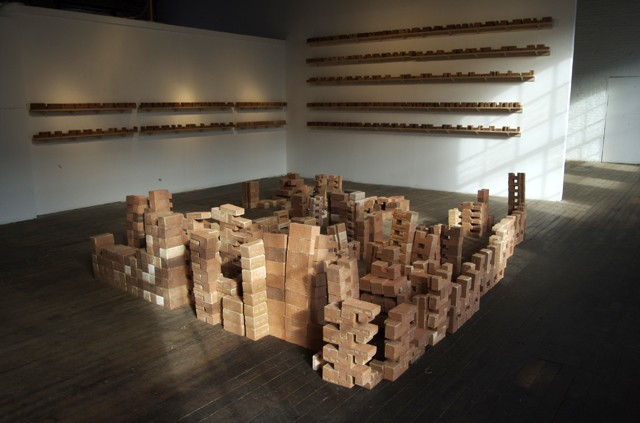 Converge is a two-part installation composed of 1123 modular bricks.