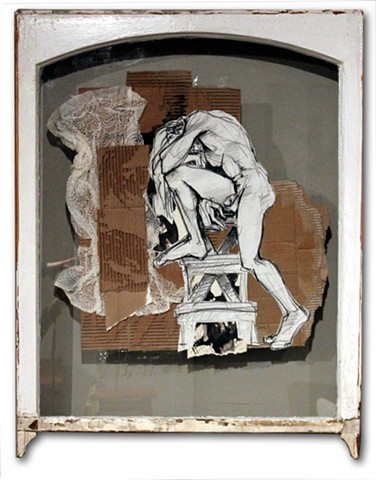 Dynamic, bold collage of original figure studies and found objects.