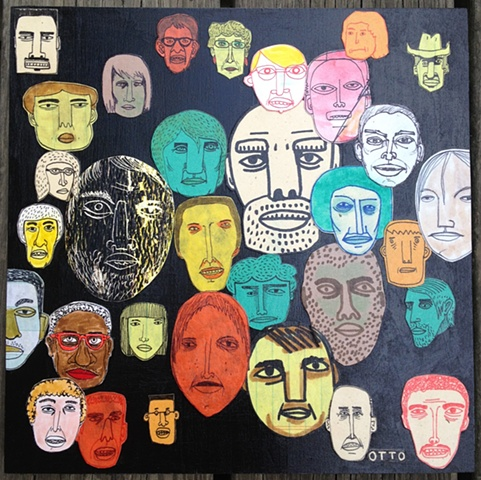 Faces on Black / Sold