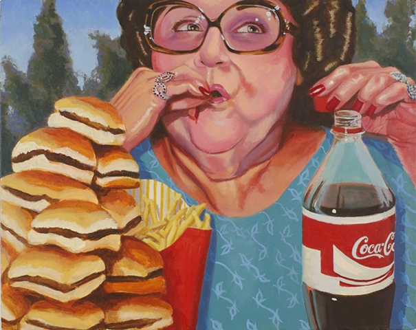 woman eating burgers