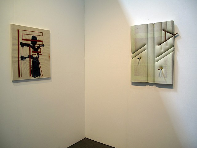 Installation photo of EJ Hauser (paintings) & Dave Hardy (sculpture) in the Regina Rex booth at the NEWD Art Show 2014.
