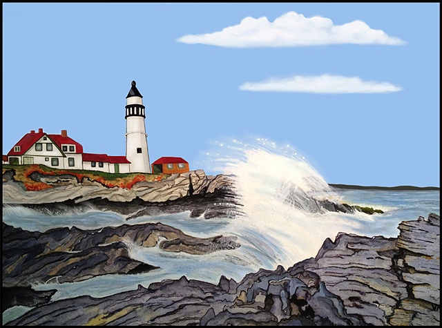 An image of a beautiful day at Portland Head Light in Maine