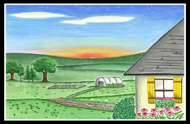 Grandma's House, Colored Pencils, greenhouse, drawing,