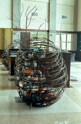 Hornet's nest steel sculpture for Police and Fire Training Academy -  Charlotte NC