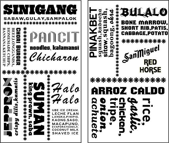JEEPNEY Filipino Gastropub Storefront Window Menu Sampler